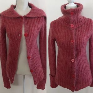 •Anthropologie• Pink Mohair Cowl Neck Cardigan